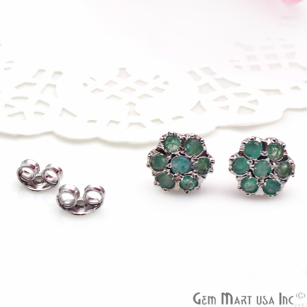 Emerald 11mm Sterling Silver Round Shape Stud Earring