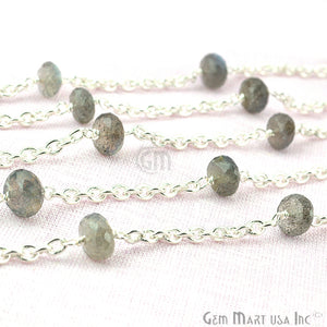 Labradorite Rondelle Beads Chain, Silver Plated Wire Wrapped Rosary Chain