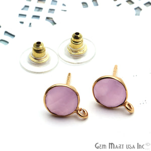 Round Faceted 12x9mm Single Bail Gold Plated Gemstone Stud Earrings (Pick Your Gemstone)