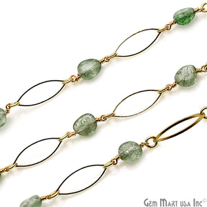 Aventurine With Gold Plated Marquise Finding Rosary Chain - GemMartUSA