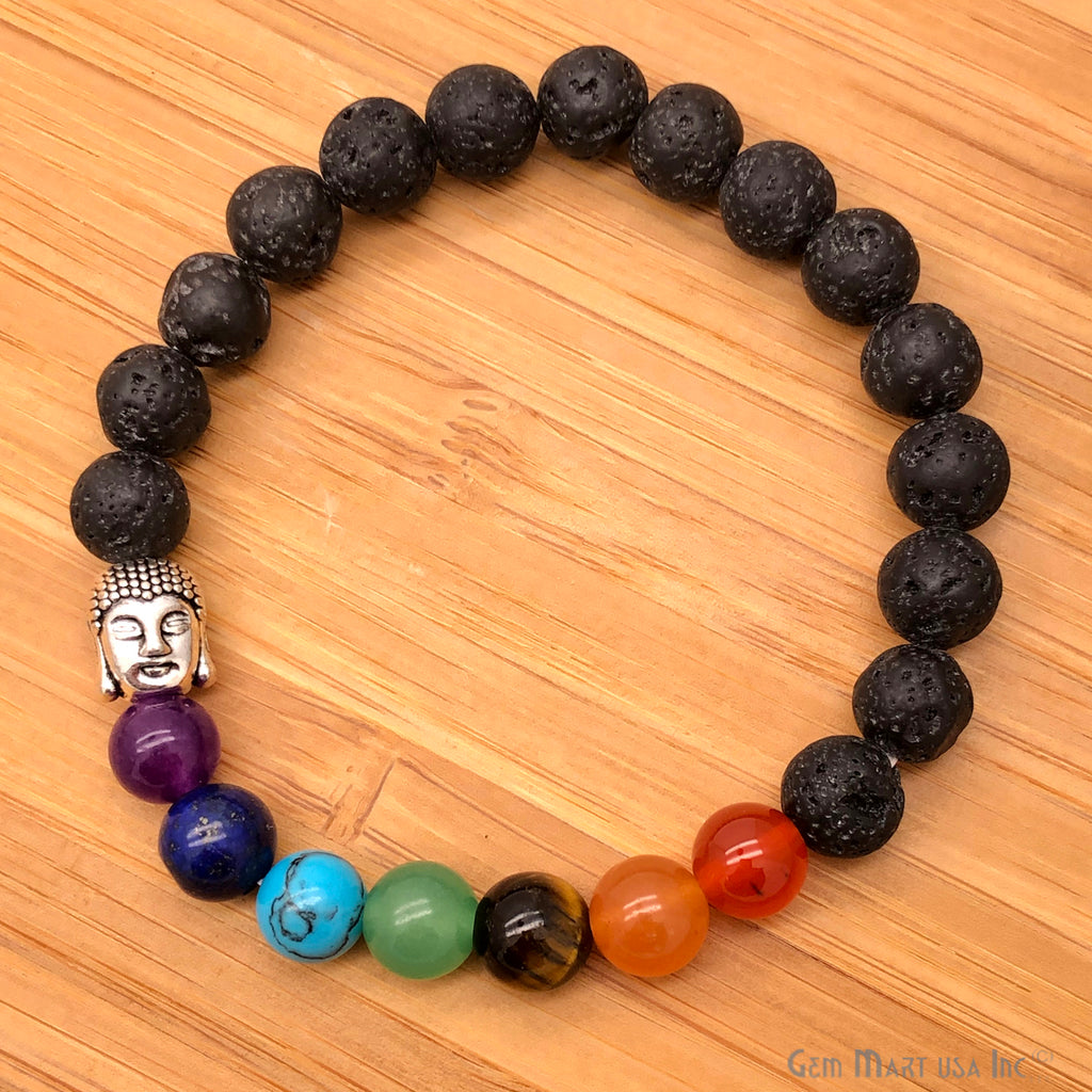Black Lava and 7 Chakra Beaded Buddha Charm Bracelet