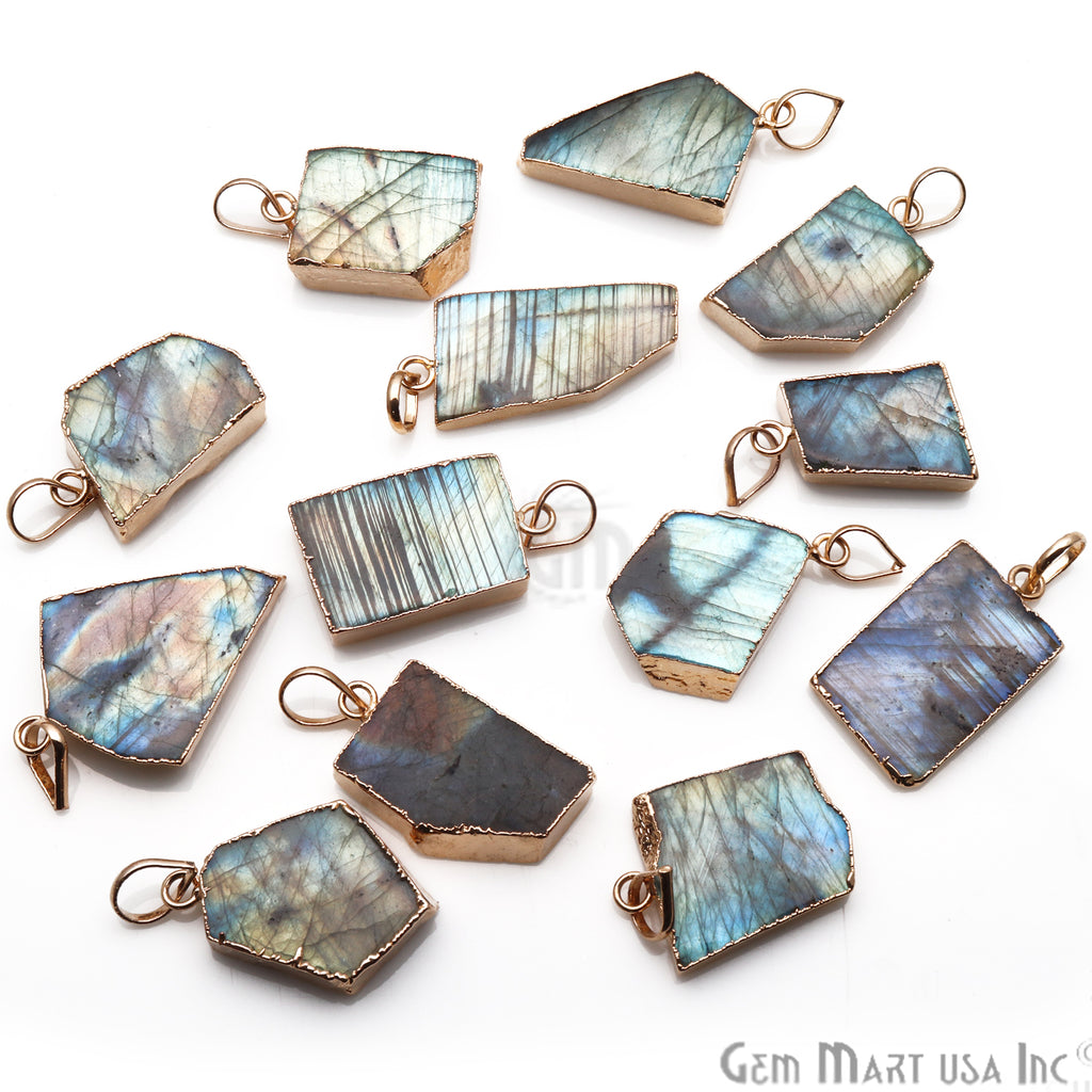 DIY Flashy Labradorite Slice Gemstone 30x18mm Gold Edge Necklaces Pendant