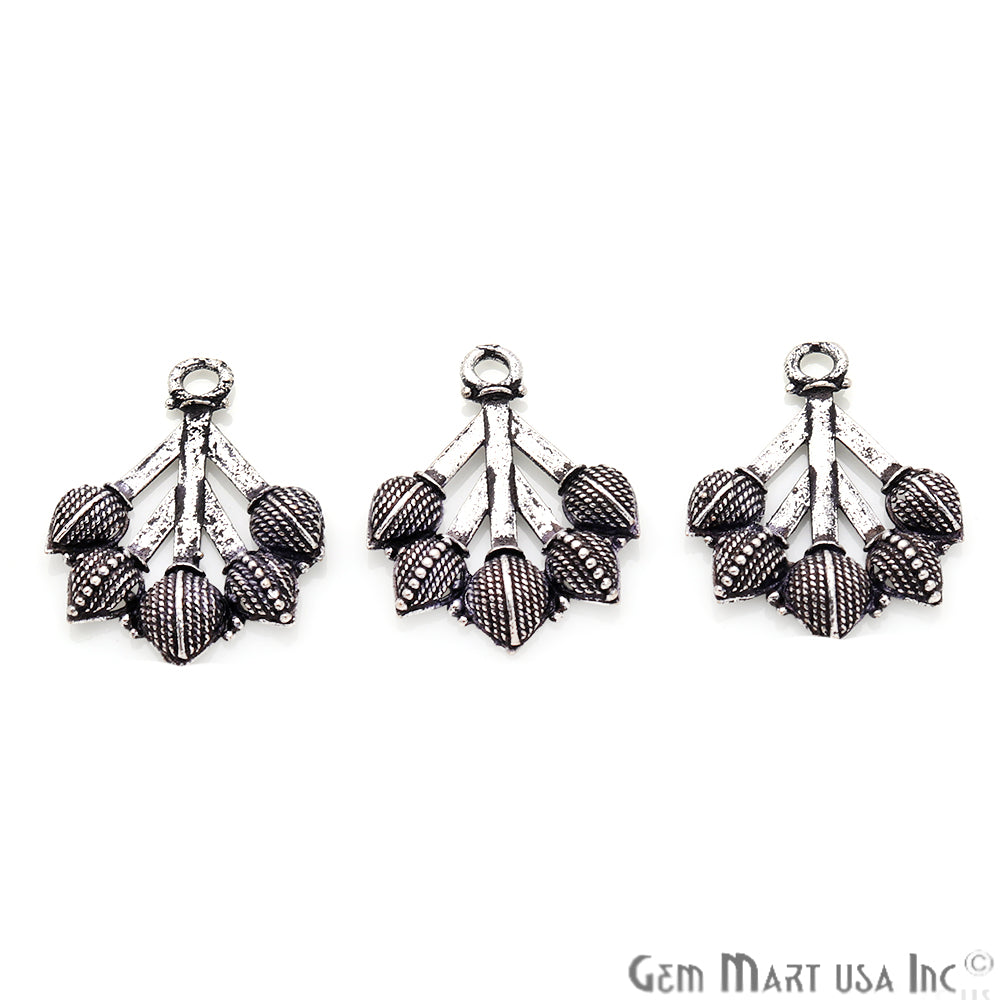 Tulip Shape Oxidized 25x19mm Charm For Bracelets & Pendants