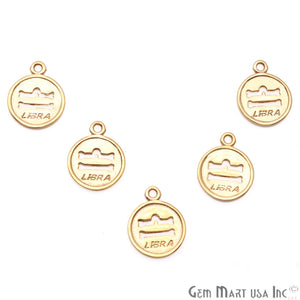 Libra Print Round Shape Gold Plated Finding Connector