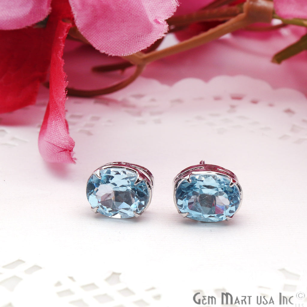 Blue Topaz 8x10mm Sterling Silver Prong Setting Oval Shape Stud Earring