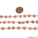 Rhodochrosite Coin Faceted 6mm Gold Wire Wrapped Rosary Chain - GemMartUSA