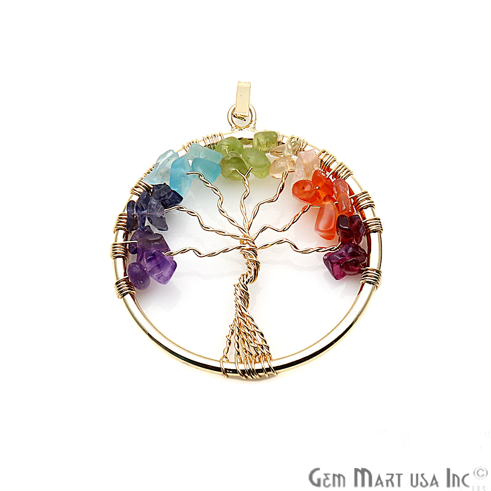 DIY Tree of Life Multi Color Gemstone Wire Wrapped Pendant 1pc (Pick Your Plating)