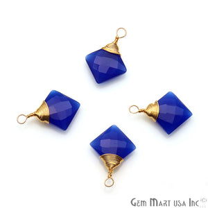 Blue Chalcedony Square 12mm Gold Plated Wire Wrapped Gemstone Connector - GemMartUSA