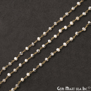 Dendrite Opal Jade Faceted Beads 4mm Gold Plated Wire Wrapped Rosary Chain - GemMartUSA