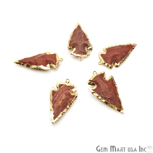 Jadper Arrowhead 40x22mm Gold Electroplated Single Bail Gemstone Connector - GemMartUSA