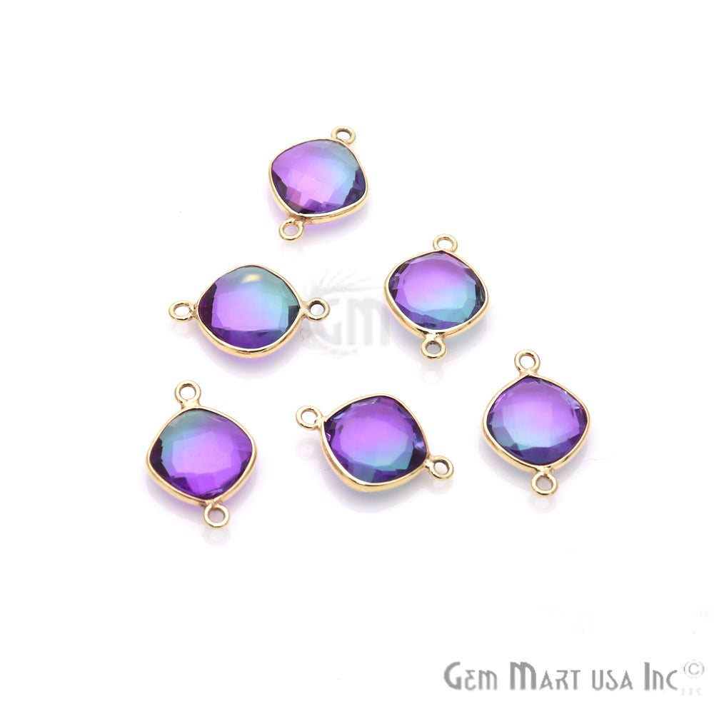 Aura Quartz 10mm Cushion Shape Doublet Quartz Gemstone Connector (Pick Your Color, Plating, Bail)