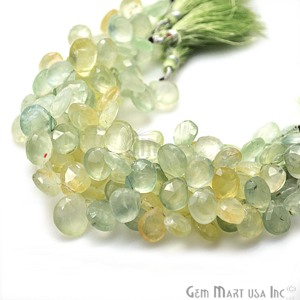 Prehnite Onion Beads Teardrops Faceted Gemstone 10-11mm Rondelle Beads