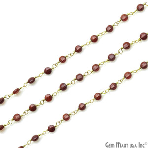 Pink Garnet Faceted 3-4mm Gold Wire Wrapped Rosary Chain - GemMartUSA
