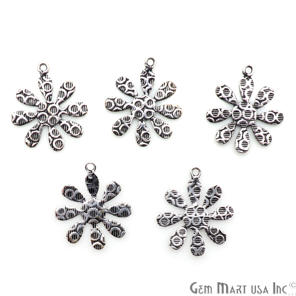 Flower Shape Oxidized 22x19mm Charm For Bracelets & Pendants