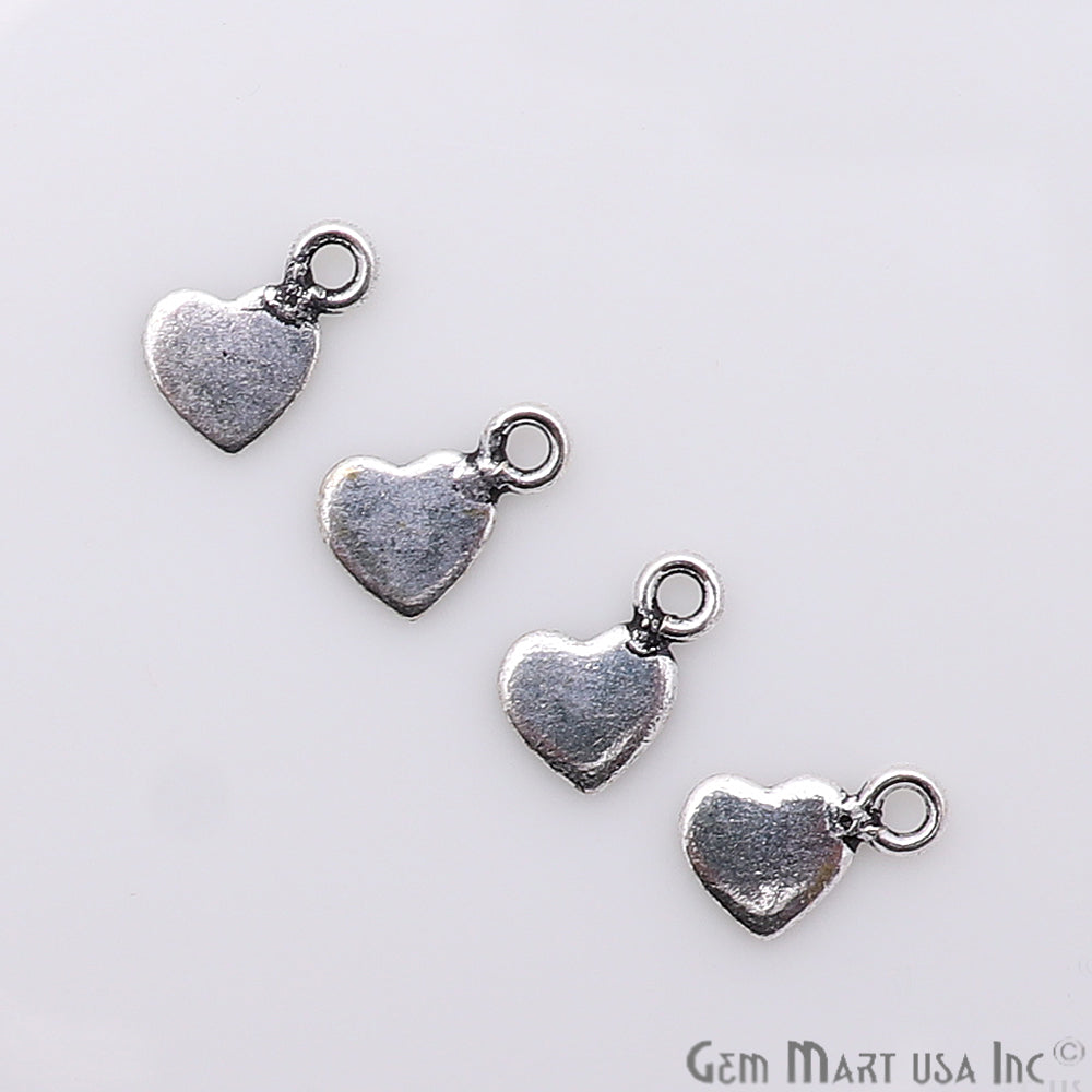 5pc Lot Heart Shape Oxidized 9x6mm Charm For Bracelets & Pendants