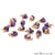 Rough Amethyst Gemstone 12x5mm Organic Rose Gold Edged Connector - GemMartUSA