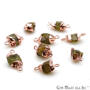 Rough Peridot Organic 18x10mm Rose Gold Electroplated Pendant Connector - GemMartUSA