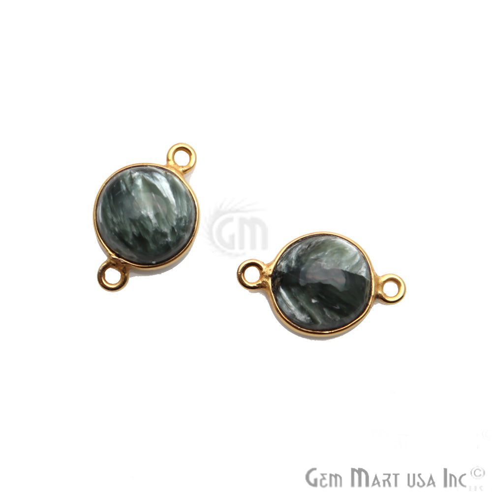 Gray Larimar Cabochon Gemstone 17x11mm Gold Plated Connector