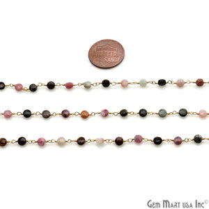 Dark Multi Tourmaline Faceted 3-4mm Gold Wire Wrapped Rosary Chain - GemMartUSA