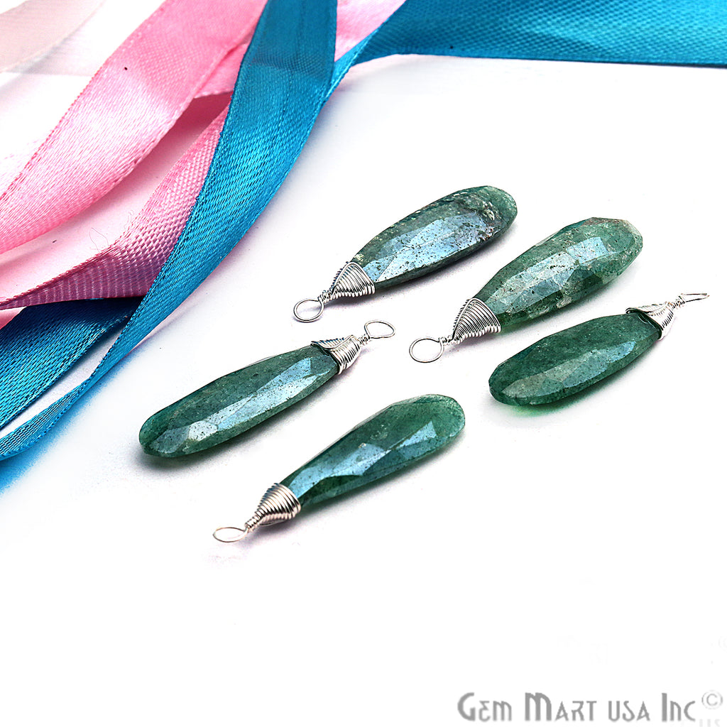 Emerald Silver Wire Wrapped 32x8mm Jewelry Making Pears Shape Connector