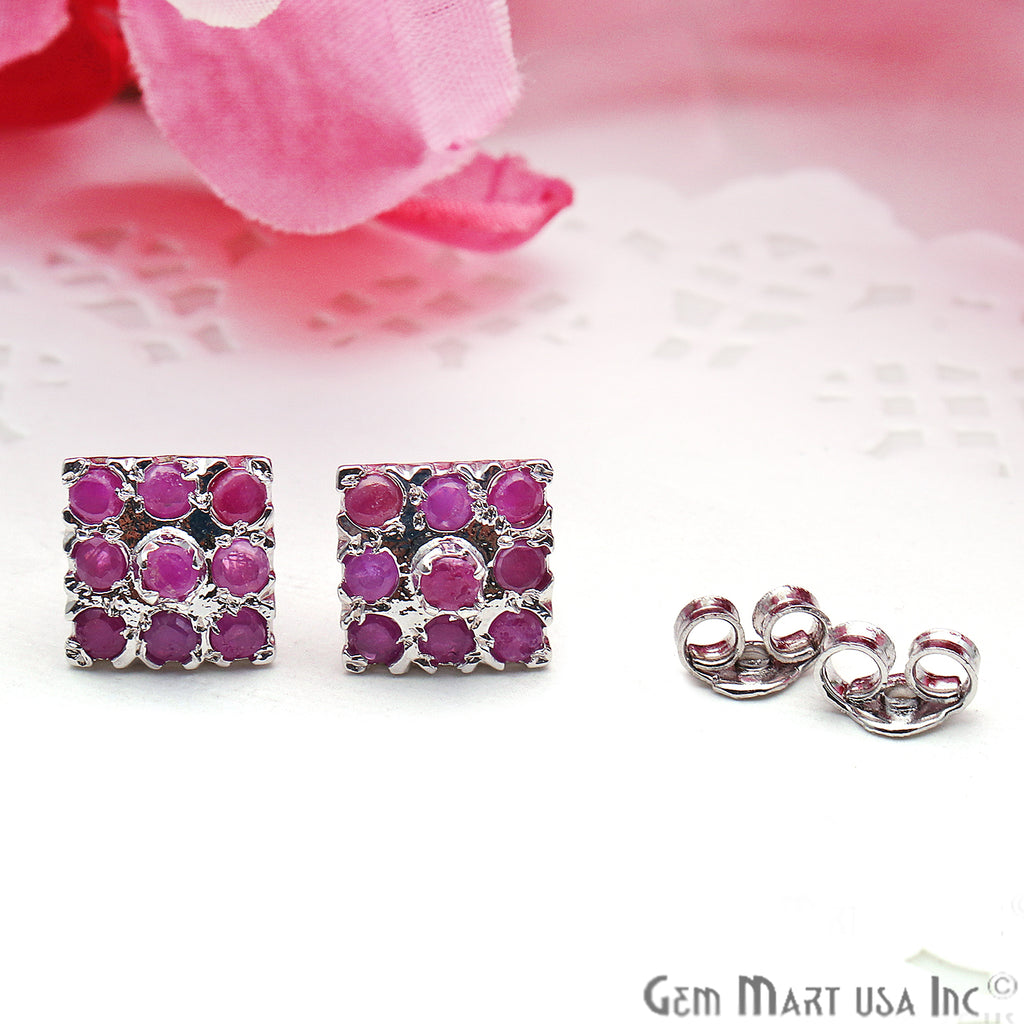 Ruby 10mm Sterling Silver Square Shape Stud Earring
