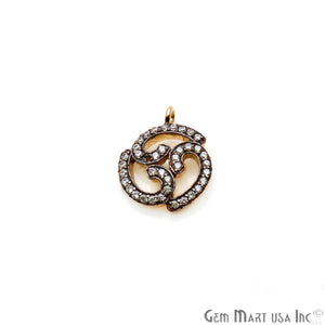 Cubic Zircon 16x13mm Spiritual Celtic Inspired Shaped Charm, Gold Plated Sterling Silver Charm, Single Bailed Pendant Connector - GemMartUSA