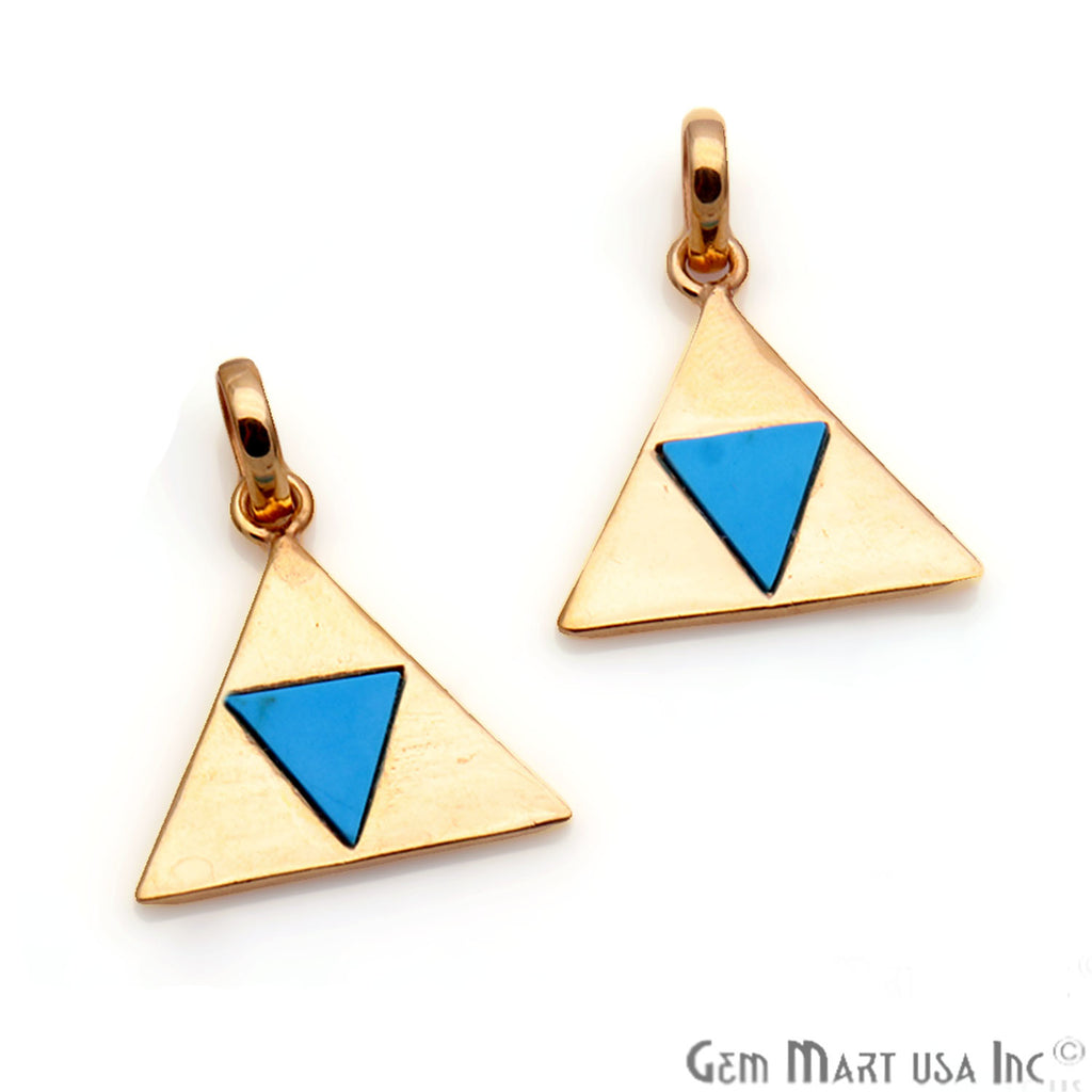 DIY Triangle Shape Turquoise Two Tone 19mm Gold Pendant