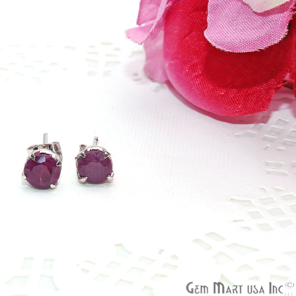 Ruby 6mm Sterling Silver Round Shape Prong Setting Stud Earring
