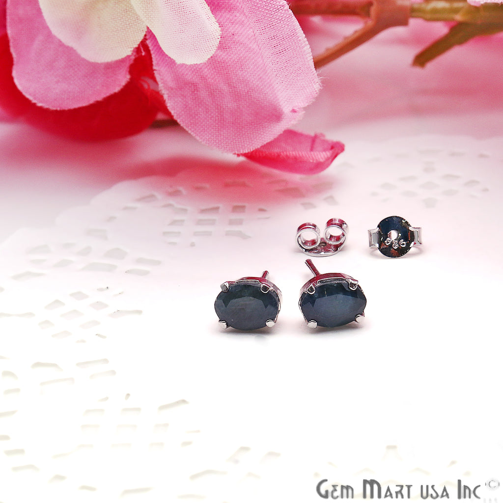 Black Sapphire 5x7mm Sterling Silver Prong Setting Oval Shape Stud Earring