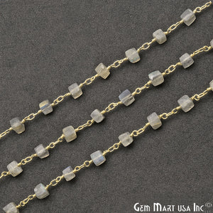 Labradorite Cube 5-6mm Gold Plated Wire Wrapped Beads Rosary Chain - GemMartUSA