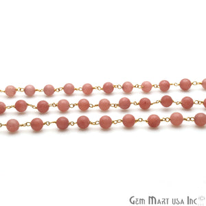 Pink Peach Jade Smooth Beads 6mm Gold Plated Wire Wrapped Rosary Chain - GemMartUSA