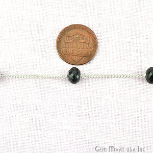 Black Spinel 7-8mm Silver Plated Rondelle Beads Rosary Chain