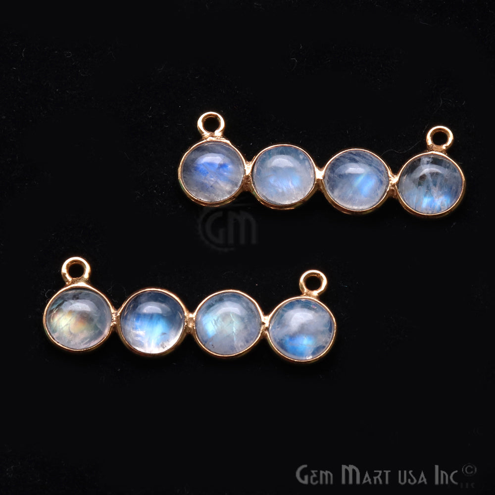 DIY Rainbow Moonstone 31x11mm Double Bail Chandelier Finding Component (Pick Your Metal)
