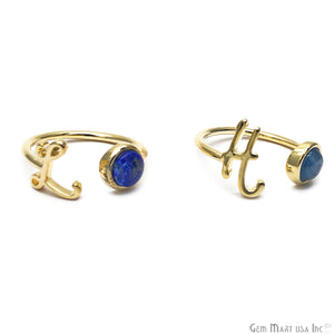 Initial Letter Lapis Lazuli Adjustable Ring (Pick Your Letter)
