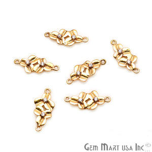 Cubic Zirconia 22x10mm Orchid shaped finding Charm, Gold Plated DIY Jewelry Making Supply, Double Bailed Gold Pendant Connector - GemMartUSA