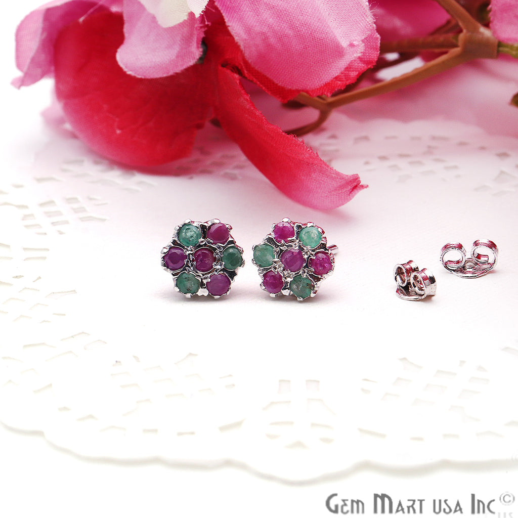 Emerald With Ruby 10mm Sterling Silver Round Shape Stud Earring