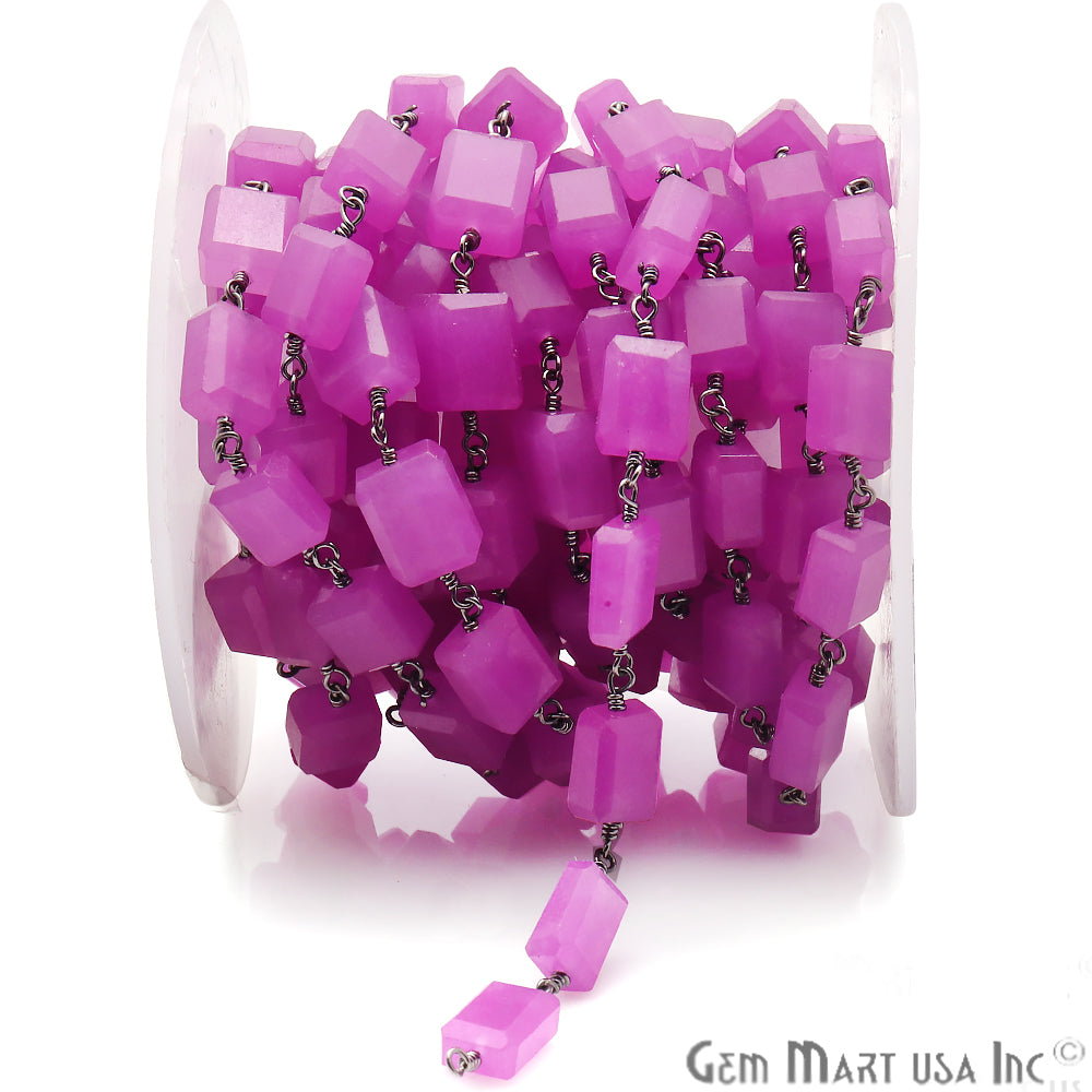 Lavender Cube Shape Gemstone Oxidized Wire Wrapped Beaded Rosary Chain