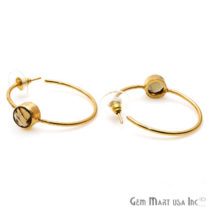 Round 8mm Gold Hoop Earrings 1 Pair (Pick your Gemstone)