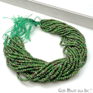 Ruby Zoipsite Jade 3-4mm Faceted Rondelle Beads Strands 14Inch