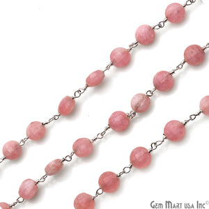 Rhodochrosite Coin Faceted 6mm Silver Wire Wrapped Rosary Chain - GemMartUSA
