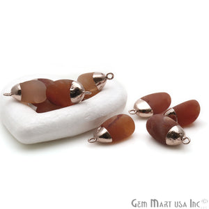Rough Carnelian Matte Beads Organic 24x16mm Rose Gold Electroplated Pendant Connector - GemMartUSA