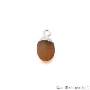 Rough Carnelian Matte Beads Organic 15x8mm Silver Electroplated Pendant Connector - GemMartUSA