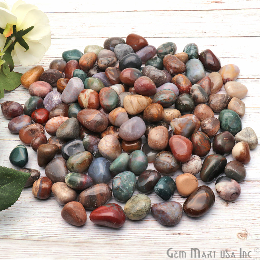 3.53oz Lot Multi Color Tumbled, Reiki Healing, Beach Stone, Wiccan Stone