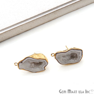 DIY Agate Slice Geode Druzy 31x18mm Gold Electroplated Loop Connector Studs Earrings - GemMartUSA