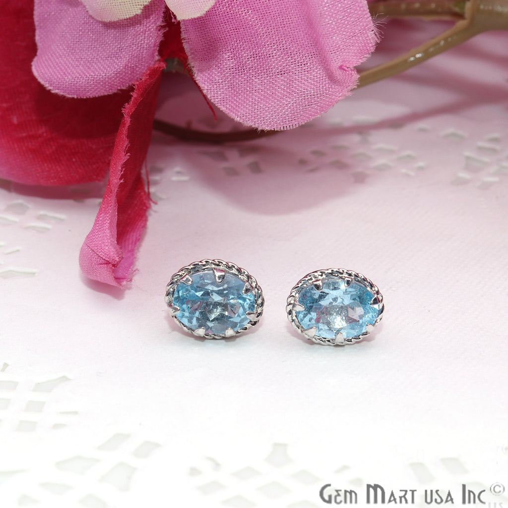 Blue Topaz 6x8mm Sterling Silver Oval Shape Prong Setting Stud Earring