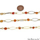 Orange Agate Gold Plated Marquise Finding Rosary Chain - GemMartUSA