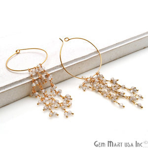 DIY Gemstone Gold Plated Hoop 36x31mm Beads Dangle Earrings (Pick Stone) - GemMartUSA