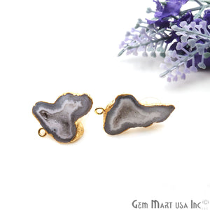 DIY Agate Slice Geode Druzy 20x30mm Gold Electroplated Loop Connector Studs Earrings - GemMartUSA