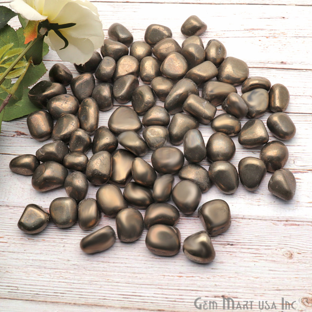 3.53oz Lot Pyrite Tumbled Reiki Healing Metaphysical Beach Spiritual Gemstone