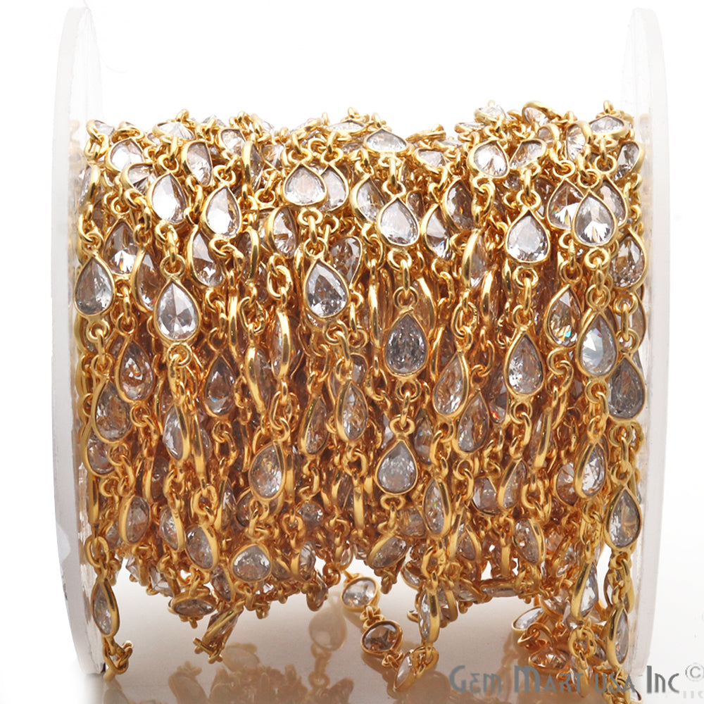 Crystal 6x4mm Pear Shape Gold Plated Continuous Connector Chain